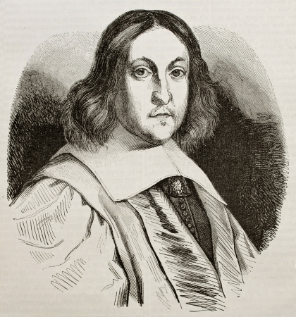 Pierre de Fermat old engraved portrait, French lawyer and mathematician. By unidentified author, published on Magasin Pittoresque, Paris, 1843