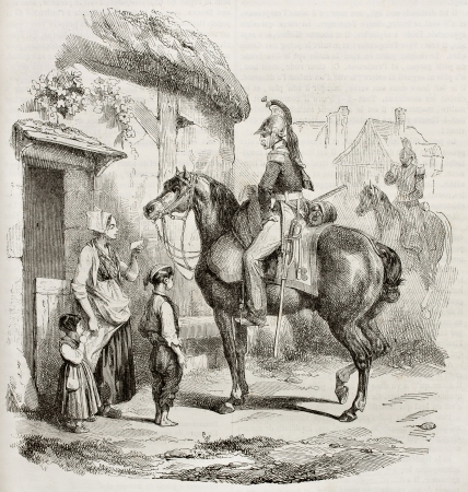 ancestry: French dragoon old illustration. Created by Bellange, published on Magasin Pittoresque, Paris, 1843 Editorial