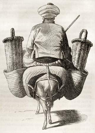 Figs seller old illustration. By unidentified author, published on Magasin Pittoresque, Paris, 1843 Stock Photo - 15269979