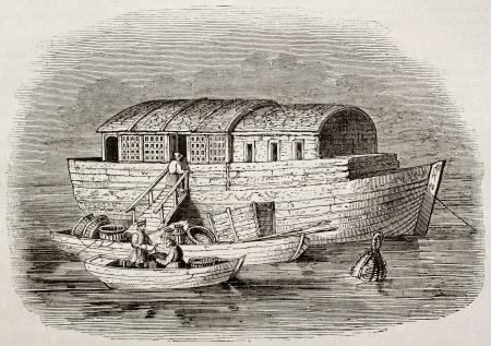Russian fish merchants boat old illustration. By unidentified author, published on Magasin Pittoresque, Paris, 1843