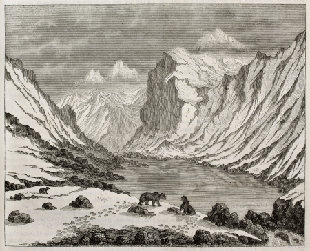 Fluela pass old view, Switzerland. By unidentified author, published on Magasin Pittoresque, Paris, 1843
