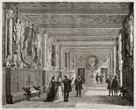 published: Palace of Fointainebleau interior, Francis I gallery. By unidentified author, published on Magasin Pittoresque, Paris, 1842