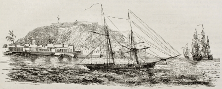 african ancestry: Goree island old view, Senegal. Created by Durand-Brager, published on Magasin Pittoresque, Paris, 1843 Editorial