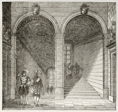 stairs interior: Henri II staircase in Louvre museum, old illustration. By unidentified author, published on Magasin Pittoresque, Paris, 1843