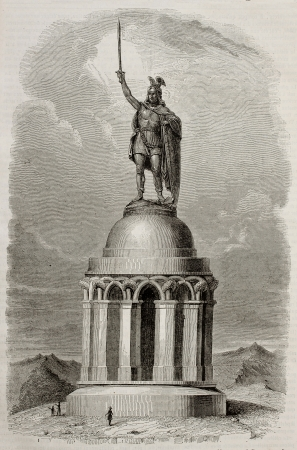 printmaking: Hermannsdenkmal memorial old illustration, Germany. By unidentified author, published on Magasin Pittoresque, Paris, 1843 Editorial