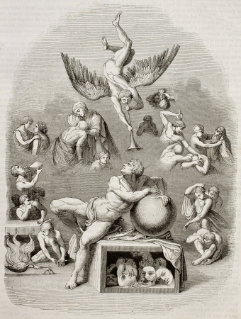 Human life dream allegoric representation. Created by Michelangelo, engraved by Best, Andrew and Leloir, published on Magasin Pittoresque, Paris, 1843
