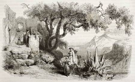 Ischia island old view. Created by Girardet, published on Magasin Pittoresque, Paris, 1843 Stock Photo - 15270328