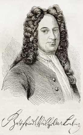 Gottfried Leibniz old engraved portrait and signature. Agter engraving of Gruzmaker, published on Magasin Pittoresque, Paris, 1843