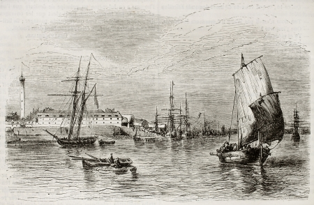 published: Lorient port old view, France. Created by Beuguelet, published on Magasin Pittoresque, Paris, 1843