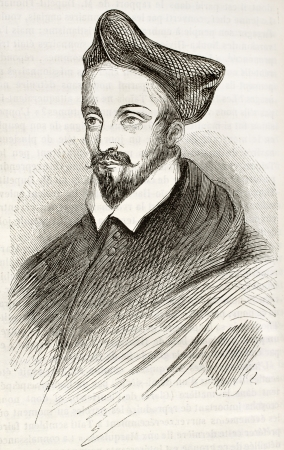guise: Louis II de Lorraine, cardinal of Guise, old engraved portrait. After painting of Vien kept in Orleans museum, published on Magasin Pittoresque, Paris, 1843