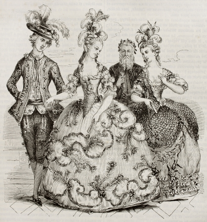 Court Ball in 1785: Costumes of marie Antoniette, Counts of Provence and Count of Artois. Created by Boquet, kept in Deveria collection, published on Magasin Pittoresque, Paris, 1843