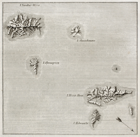 french polynesia: Marquesas islands old map. By unidentified author, published on Magasin Pittoresque, Paris, 1843