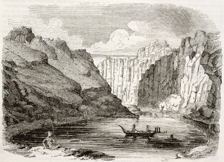 french polynesia: Marquesas Islands old view (Tcitchagov bay). By unidentified author, published on Magasin Pittoresque, Paris, 1842