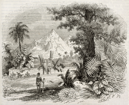 Marquesas Islands old view: Heiau (Hawaian temple) in Nuku Hiva isle. Created by Marville, published on Magasin Pittoresque, Paris, 1843