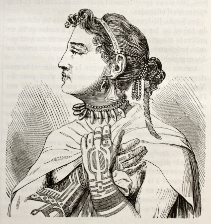 published: Marquesas islands Queen old engraved portrait. Created by Krusenstern, published on Magasin Pittoresque, Paris, 1843