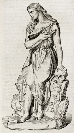 Mary Magdalene statue, old illustration. Sculpted by Barre, published on Magasin Pittoresque, Paris, 1843
