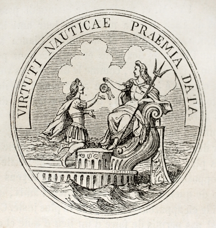 Antique medal celebrating French navy in the age of Louis XIV. By unidentified author, published on Magasin Pittoresque, Paris, 1843