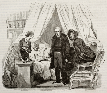 old fashioned: Doctor visiting ill man. Created by Lamy, published on Magasin Pittoresque, Paris, 1843