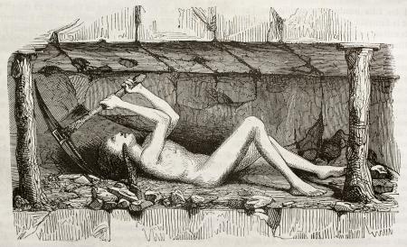 peinture rupestre: Jeune homme travaillant dans une mine de charbon. Par auteur non identifié, publié le Magasin Pittoresque, Paris, 1842 Éditoriale