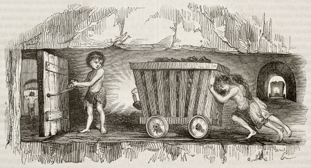 COAL MINER: Children working as coal miners, pulling a cart. By unidentified author, published on Magasin Pittoresque, Paris, 1842