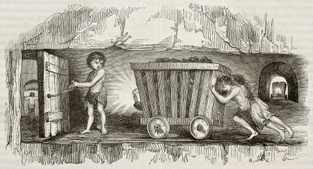 carbone: I bambini a lavorare come minatori, che tira un carrello. Per autore non identificato, pubblicato il Magasin Pittoresque, Parigi, 1842 Editoriali