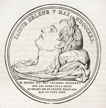 napoleon i: Napoleon I death medal. By unidentified author, published on Magasin Pittoresque, Paris, 1843 Editorial