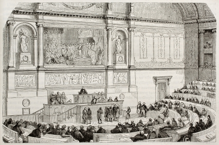 French parliament session old illustration. Created by Lamy,  published on Magasin Pittoresque, Paris, 1843