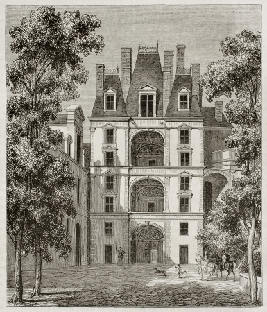 french doors: Fointainebleau castle: pavilion of the golden door, France. By unidentified author, published on Magasin Pittoresque, Paris, 1843 Editorial