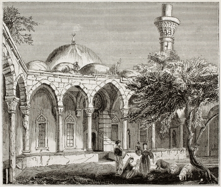 Mosque in Payas old illustration, southern Turkey. By unidentified author, published on Magasin Pittoresque, Paris, 1843 Stock Photo - 15270084