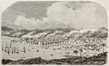 antilles: Point a Pitre old view, Guadeloupe, before earthquake destruction in 1843. By unidentified author, published on Magasin Pittoresque, Paris, 1843