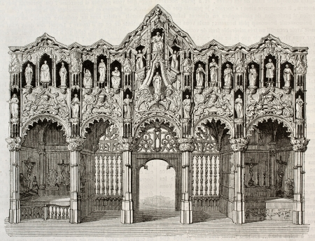 rood: Rood screen in Saint-Nicolas church, Dixmude, Belgium. By unidentified author, published on Magasin Pittoresque, Paris, 1843