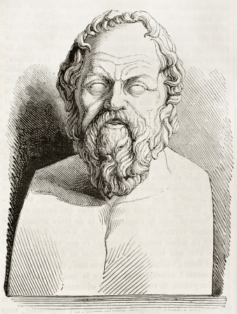 ancient philosophy: Socrates bust kept in Louvre museum, old illustration. By unidentified author, published on Magasin Pittoresque, Paris, 1843
