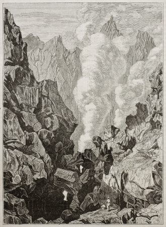 Soufriere crater old illustration, Guadalupe. By unidentified author, published on Magasin Pittoresque, Paris, 1843