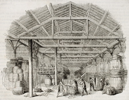 printmaking: Tobacco manufacturing warehouse old illustration. By unidentified author, published on Magasin Pittoresque, Paris, 1843 Editorial