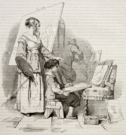 Famous painter Van Dyck listening his mother painting lesson. Created by Le Poittevin, published on Magasin Pittoresque, Paris, 1843