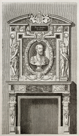 Villeroy castle fireplace, kept in Louvre museum, Paris. By unidentified author, published on Magasin Pittoresque, Paris, 1843