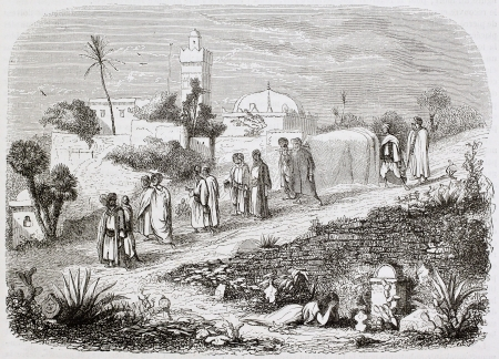 Algerian burial old illustration. Created by Frere and Montigneul, published on Magasin Pittoresque, Paris, 1844