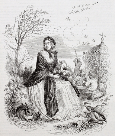 allegory: Autumn allegoric representation. Created by Grandville, published on Magasin Pittoresque, Paris, 1844