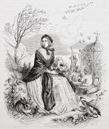 allegoric: Autumn allegoric representation. Created by Grandville, published on Magasin Pittoresque, Paris, 1844