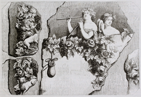 bacchus: Baccanthes old illustration. Created by Valentin after old painting, published on Magasin Pittoresque, Paris, 1844  Editorial