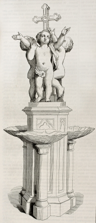 sculpted: Doopvont oude illustratie. Marble goup gebeeldhouwd door Jouffroy voor Saint-Germain l'Auxerrois kerk in Parijs, na de samenstelling van De Lamartine. Gepubliceerd op Magasin Pittoresque, Parijs, 1844