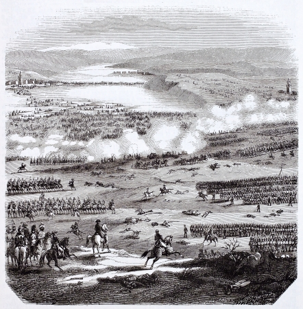 austerlitz: Battle of Austerlitz old illustration, After plans kept in military archives, published on Magasin Pittoresque, Paris, 1844