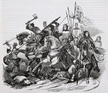 caballero medieval: Batalla de Bouvines ilustración edad. Por autor no identificado, publicado el Magasin Pittoresque, París, 1844 Editorial