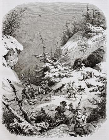 pintura rupestre: Caza del oso medieval de la ilustración Alpes edad. Creado por Girardet, publicado el Magasin Pittoresque, París, 1844