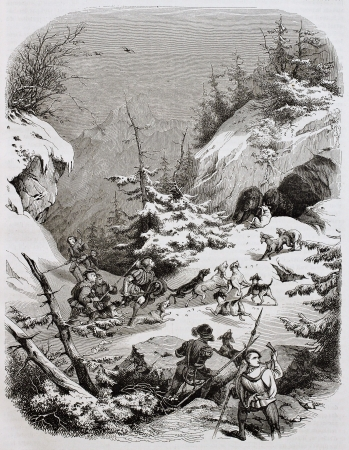 peinture rupestre: Chasse à l'ours médiéval de la vieille illustration Alpes. Créé par Girardet, publié le Magasin Pittoresque, Paris, 1844