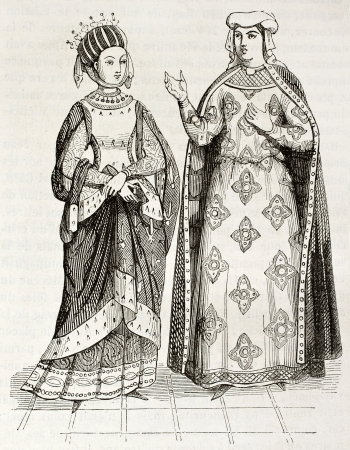 castile: Blanche of Castile and Margaret of Provence old engraved portraits. Created by Montfaucon, published on Magasin Pittoresque, Paris, 1844