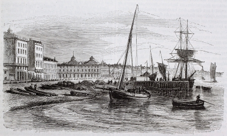 Bordeaux old view from the beach, France. Created by Beuguelet, published on Magasin Pittoresque, Paris, 1844