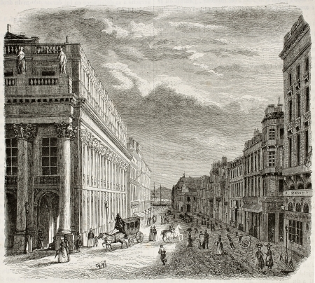 old fashioned sepia: Rue du Chapeaux Rouge old view, Bordeaux, France. Created by Drouyn and Pagny, published on Magasin Pittoresque, Paris, 1844
