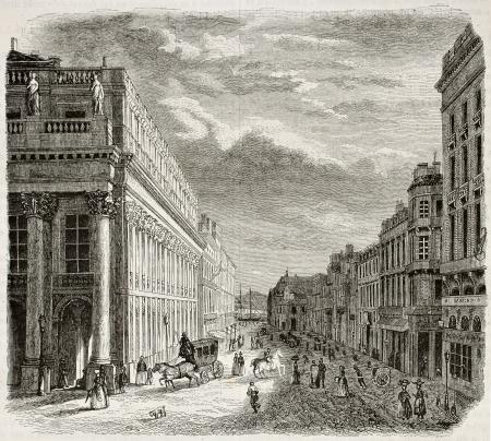 Rue du Rouge Chapeaux vieux vue, Bordeaux, France. Créé par Drouyn et Pagny, publié le Magasin Pittoresque, Paris, 1844 Éditoriale