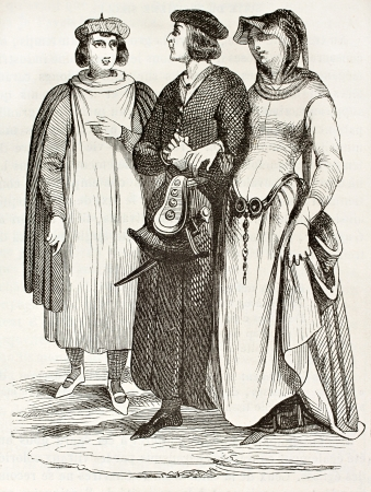bourgeoisie: French bourgeois in traditional medieval clothes, old illustration. After manuscript of Miracles de Saint Louis,published on Magasin Pittoresque, Paris, 1844